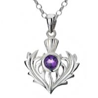 Scottish Thistle Silver & Amethyst Pendant